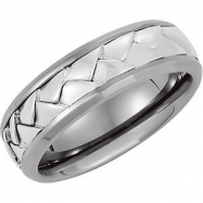 TITANIUM_STER 7mm Polished Sterling Silver Weave Band With Ster Inlay