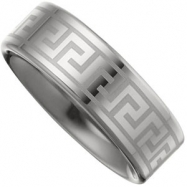 09.50 Dura Flat Grey Laser Greek Key Band