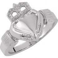 14K White Gold Claddagh Ring