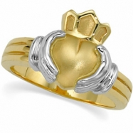 14K Yellow White Gold Ladies Claddagh Ring
