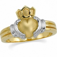 14K Yellow White Gold Gents Claddagh Ring