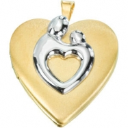 Yellow Gold Filled Heart Shaped Mother And Child Locket