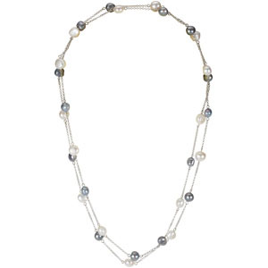 Sterling Silver 08.50- 47.25 Inches Freshwater Cultured White & Grey Pearl Necklace. Price: $223.64