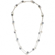 Sterling Silver 08.50- 47.25 Inches Freshwater Cultured White & Grey Pearl Necklace