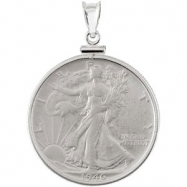 Sterling Walking Liberty Dollarcoin Set Into A Silver Coin Frame