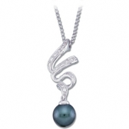 14K White Gold Black Cultured Pearl And Diamond Necklace