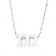 Silvertone Initial M Pendant