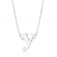 Silvertone Initial Y Pendant
