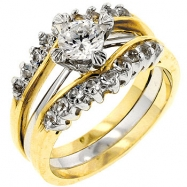 Two Tone CZ Anniversary Ring Set