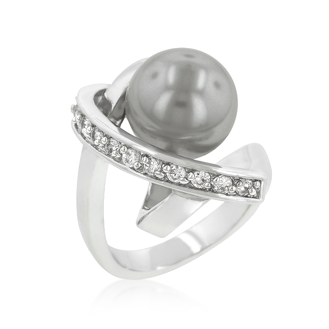 Silver Tone Knotted Simulated Pearl Ring. Price: $15.00