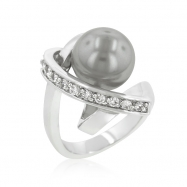 Silver Tone Knotted Simulated Pearl Ring