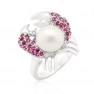 Pearl Crab CZ Ring