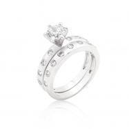 Bezel Set Round Cut Bridal Ring Set