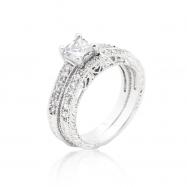 Princess Cut Filigree Bridal Ring Set