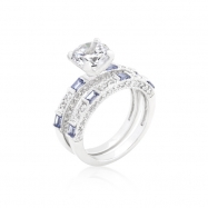 Clear and Tanzanite CZ Ring Set
