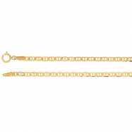 14kt White 07.00 Inch 2.25 mm Anchor Chain with Spring Ring