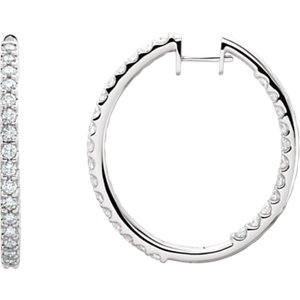 14kt White 1/4 CTW Pair 1/4CTW Diamond Inside-Outside Hoop Earrings. Price: $915.50