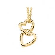 Platinum Polished Metal Fashion Heart Pendant