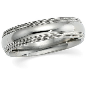 18kt White 06.00 mm Comfort Fit Double Milgrain Band. Price: $1197.03