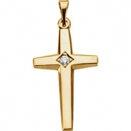 14kt White .04CTW Cross Diamond Pendant