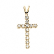 14kt White 15.00X10.00 mm Cross Pendant with Diamond