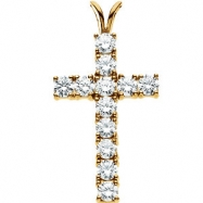 14kt White 24.00X15.00 mm Cross Pendant with Diamond