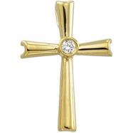 14kt White Cross Pendant with Diamond