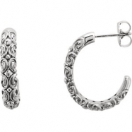 14kt White EARRING Complete No Setting 20.00X04.10 mm Pair Polished SCULPTURAL HOOP EARRINGS