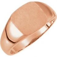14kt Rose 07.00 mm Polished Signet Ring