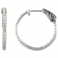 Platinum Diamond White 3/4 Pair Polished Inside-Outside Hoop Earrings