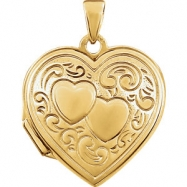 Yellow Gold Plated/Sterling Silver 19.25X18.00 mm Polished Heart Shaped Locket