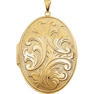 Yellow Gold Plated/Sterling Silver Oval Large Embossed Locket