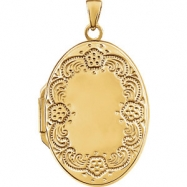 Yellow Gold Plated/Sterling Silver 28.40X19.50 mm Polished Oval Shaped Locket