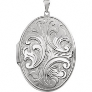 Sterling Silver Oval Large Embossed Locket