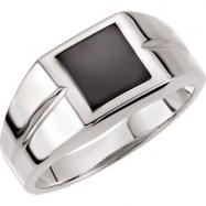 14kt White 08.00X08.00 mm Polished Mens Onyx Ring