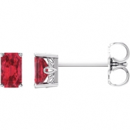 14kt White Complete with Stone Chatham Created Ruby 05.00X03.00 mm Pair Polished Chatham Created Rub