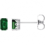14kt White Complete with Stone Chatham Created Emerald 05.00X03.00 mm Pair Polished Chatham Created