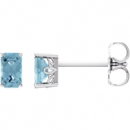 14kt White Complete with Stone Aquamarine 05.00X03.00 mm Pair Polished Aquamarine Earrings With Back