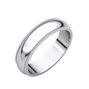 14kt X1 White 05.00 mm Comfort Fit Milgrain Band. Price: $689.05
