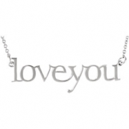 14kt Yellow Necklace Complete No Setting Polished Metal Fashion Love You Necklace