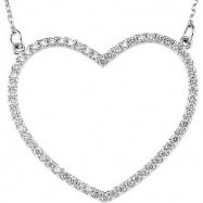 14kt White Diamond 25.00X28.20 mm 1/2 CTW Diamond Heart Necklace