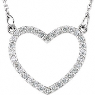 14kt White Diamond 14.45X16.55 mm 1/4 CTW Diamond Heart Necklace