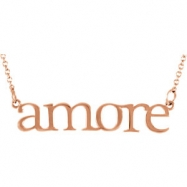 14kt Rose Necklace Complete No Setting Polished Metal Fashion Amore Necklace