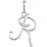 Necklace R Round 01.00 mm Diamond I1 Complete with Stone 14kt White Polished .03CTW Diamond Initial
