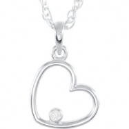 14kt White Necklace Diamond .02CTW Diamond Heart Necklace