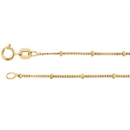 14kt White Bulk By Inch Beaded Curb Chain
