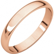 14kt Rose 03.00 mm Light Half Round Band
