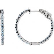 14kt White Topaz Sky Blue Pair Polished Inside-Outside Hoop Earrings