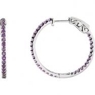 14kt White Amethyst Purple Pair Polished Inside-Outside Hoop Earrings