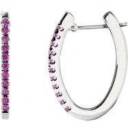 14kt White Sapphire Pink Pair Polished Hoop Earrings